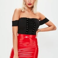 Missguided - Red Vinyl Curve Hem Mini Skirt