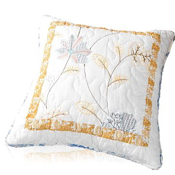 Tache 2 Piece 100% Cotton Floral Patchwork Winter Frost Blue Yellow White Cushion Covers (TAJHW-668-CC)