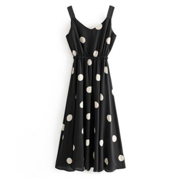 Fashion New Wave Point Print Straps Dress Women Black
