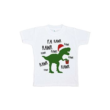 Custom Party Shop Youth Christmas Dinosaur Red Baseball Tee