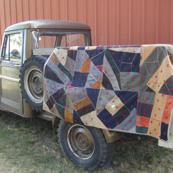 Vintage Crazy Quilt Plaid Quilt  Primitive Shabby Chic
