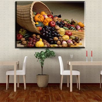 ZZ2260 Canvas painting Restaurant Fruits deer grape pumpkin wall art Modern Modular pictures On for kitchen decor poster