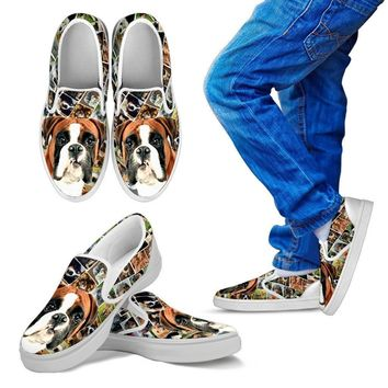 Amazing Boxer Dog Print Slip Ons For Kids-Express Shipping