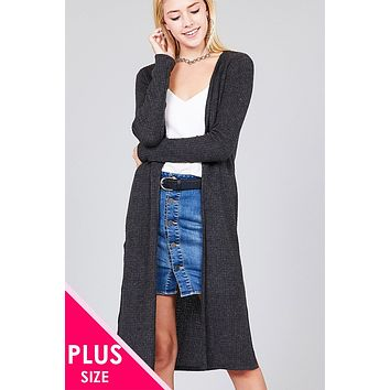 Ladies fashion plus size long sleeve open front side slit midi length brushed waffle cardigan