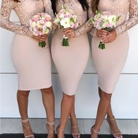 Pink Lace Off Shoulder Backless Bodycon For Wedding Elegant Banquet Party Midi Dress