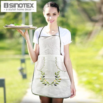 Linen Apron Women Kitchen Embroidered avental With Pocket Cooking Aprons Dining Room Barbecue Halterneck Olive Branch 1pcs/lot