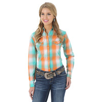 Wrangler Women's The Ultimate Riding Shirt Long Performance Sleeve Plaid Shirt Orange Turquoise