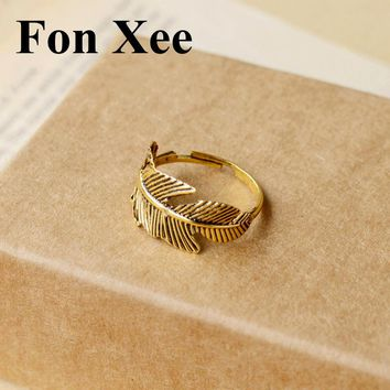 Fon Xee Retro Quill Feather Ring Antique Gold Color Adjustable Fashion Women Vintage Jewelry R002