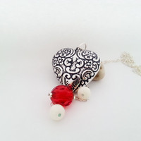 Big silver long heart necklace beads red white gift for her valentines mothers day gift