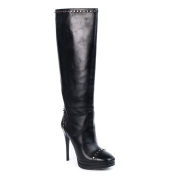 Roberto Cavalli Womens Black Studded Leather Knee High Boots