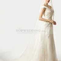 Off the Shoulder Appliqued Organza over Satin Princess Wedding Gown
