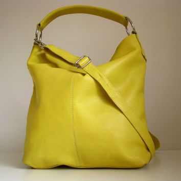Leather Handbag, Leather Purse, Messenger Bag, yellow