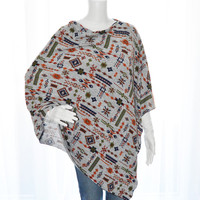 Tribal Poncho/ Nursing Poncho/ Breastfeeding Cover/ Nursing Shawl/ Maternity Top / Boho Poncho / Soft Jersey Knit/ Gift for her New Mom Gift