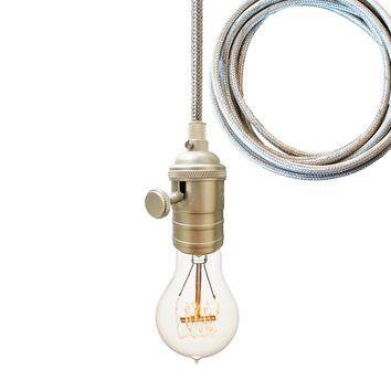 Brushed Nickel Bare Bulb Pendant Light- Chrome Cord
