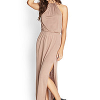 FOREVER 21 Knotted Maxi Dress Taupe Large