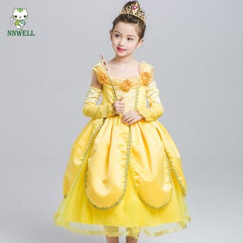 NNW Beauty and The Beast Belle Cosplay Princess Fancy Kids Costumes Grils Yellow Dresses With Sleeve Hight-Quality