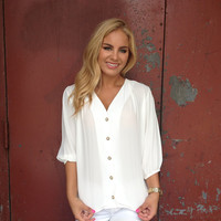 Ivory 3/4 Sleeve Button Up Blouse