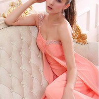 [71.99] Elegant Chiffon One-Shoulder Neckline A-line Prom Dress with Beadings & Rhinestones - Dressilyme.com