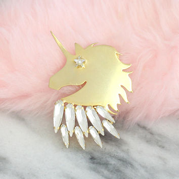 Unicorn Pin, Unicorn Jewelry, Gold Crystal Pin, Crystal Brooch, Swarovski Crystal Pin, Swarovski Crystal Pin, Trendy Jewelry, Unicorn Brooch