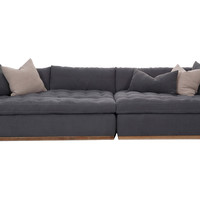 Francis Tufted Linen Sectional, Charcoal, Sectionals
