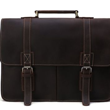 BLUESEBE MEN VINTAGE LEATHER BRIEFCASE/MESSENGER BAG/SATCHEL 8017