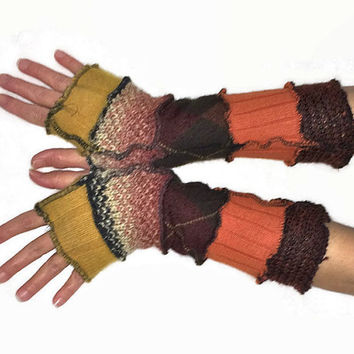 Upcycled Fingerless Gloves  Brown Orange Yellow Armwarmers Recycled Wrist warmers Stripe Knit Fingerless Mittens Fashion Accessories gift