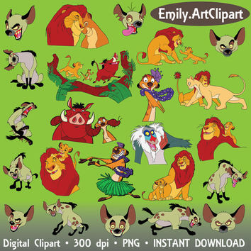 Digital Clipart - 74 Image Clip Art The Lion King Party Simba Timon Pumbaa Shaman Scar Disney Cartoon INSTANT DOWNLOAD printable 300 dpi png