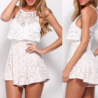 White Sleeveless Lace Pleated Tunic Romper