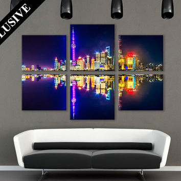 Shanghai Skyline Canvas Art Multi Panel Print Modern Art Wall Deco Fine Art Photography Large Wall Art for Home and Office Wall Decoration