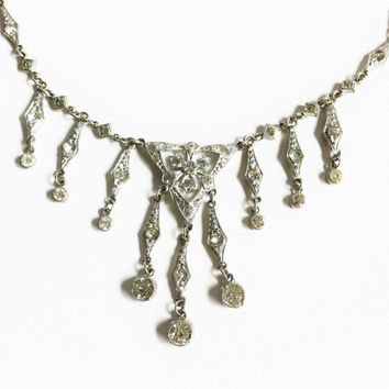 Antique Victorian Necklace, Rhinestone Choker, Bib Necklace, Dangling Rhinestone Pendants, Vintage Bride Jewelry, Statement Necklace