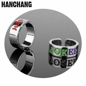 Suicide Squad Stainless Steel Ring For Women Men Harley Quinn Joker Lover Rings Wedding Finger Ring Fashion Movie Jewelry