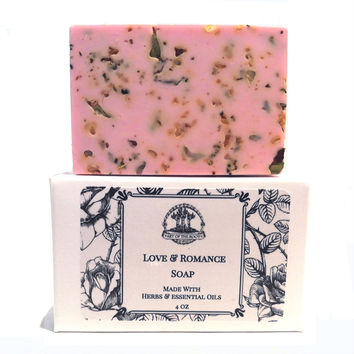 Love & Romance Shea Herbal Soap Bar for Hoodoo Voodoo Wiccan & Pagan Rituals