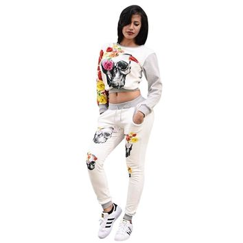 2 Pieces Set Women Pants Skull Print Long Sleeve Pullover Tops