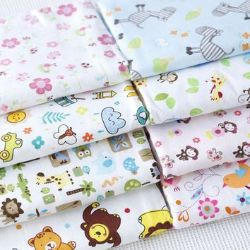 100x160cm 9 Great Mixed Animals Monkey Donkey Bird Lion Flower Leaf Printed 100% Cotton Flannel Fabric for Children Pajamas