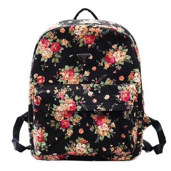 MagicPieces Women's Floral Print Black School Bag Travel Backpack 042323 Z0504