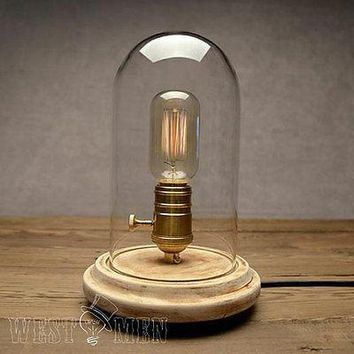Bell Glass Jar 1 Light Wooden Base Table Lamp