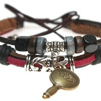 Eye Key Beaded Leather Bracelet Yoga Multi Strand Zen Wristband in Gift Box