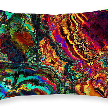 "Custom made decorative rectangular 20""x14""  throw pillow. Colorful bright glowing abstract artwork on pillow cover"