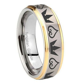 10MM Step Edges Hearts and Crowns 14K Gold IP Tungsten Two Tone Men's Ring