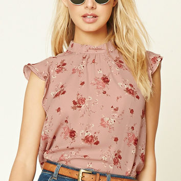 Floral Mock Neck Top