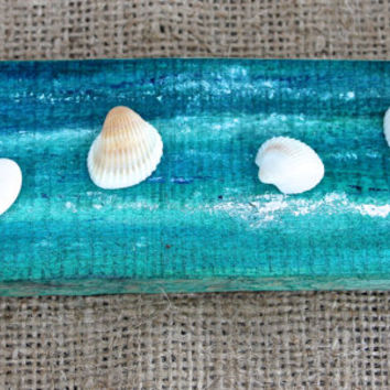 Little Seashells on Driftwood Zen Beach Garden Sliced Driftwood with Hand Painted Ocean White Sea Pebbles and Tiny Shells