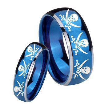 His Her Glossy Blue Dome Multiple Skull Pirate Two Tone Tungsten Wedding Rings Set