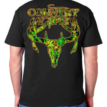 Country Life Outfitters Black & Orange Camo Realtree Deer Skull Head Hunt Vintage Unisex Bright T Shirt