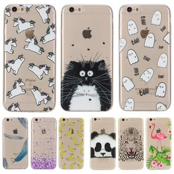 Lovely Animal Cat Unicorn Silicon Case for Apple iPhone 5 5S SE 6 6S Plus 6Plus Clear Cover Soft TPU Transparent Phone Cases