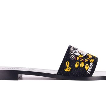 Dior Womens Black Dior Tarot Death Embroidered Clog Slippers