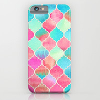 Watercolor Moroccan Patchwork in Magenta, Peach & Aqua iPhone & iPod Case by Micklyn