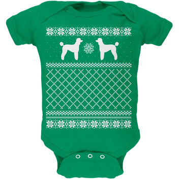 Poodle Ugly Christmas Sweater Kelly Green Soft Baby One Piece