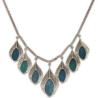 Lucky Brand Necklace, Silver-Tone Semi-Precious Turquoise Peacock Feather Necklace - Fashion Necklaces - Jewelry & Watches - Macy's