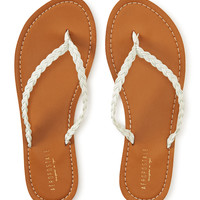 Braided Faux Leather Flip-Flop