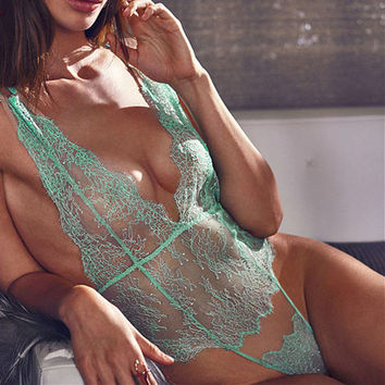 Sexy Lace Deep V-Neck One Piece Underwear Lingerie Sleepwear